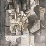 Pablo Picasso, Homme à la guitare (Paris, outono 1911). Óleo sobre tela, 154x77,5 cm. Musée national Picasso-Paris. Foto: © RMN-Grand Palais (Musée national Picasso-Paris) / Ojéda René-Gabriel  © Succession Pablo Picasso / AUTVIS, Brasil, 2016.