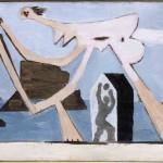 Pablo Picasso, Joueurs de ballon sur la plage (Dinard, 15 agosto 1928), Óleo sobre tela, 24x34,9 cm. Musée national Picasso-Paris. Foto: © RMN-Grand Palais (Musée national Picasso-Paris) / Ojéda René-Gabriel  © Succession Pablo Picasso / AUTVIS, Brasil, 2016.