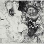 Pablo Picasso, La Patronne faiseuse d'anges, avec trois filles. Degas aux mains dans le dos (Mougins, 1 a 4 maio 1971). Ponta-seca e raspador sobre cobre. Estado II. Prova impressa por Crommelynck, 36,6x48,7 cm. Musée national Picasso-Paris. Foto: © RMN-Grand Palais (Musée national Picasso-Paris) / Hatala Béatrice © Succession Pablo Picasso / AUTVIS, Brasil, 2016.