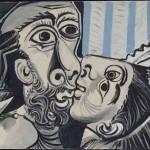 Pablo Picasso, Le Baiser (Mougins, 26 outubro 1969). Óleo sobre tela, 97x130 cm. Musée national Picasso-Paris. Foto: © RMN-Grand Palais (Musée national Picasso-Paris) / Berizzi Jean-Gilles © Succession Pablo Picasso / AUTVIS, Brasil, 2016.