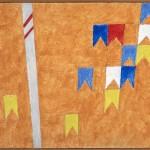 Alfredo Volpi - Bandeirinhas com mastros - T+¬mpera sobre tela - 24 x 32,9 cm - D +®c. 70 - Proj. n-¦ 1272