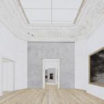 Daniel Senise - Musee d'Art de Nantes  - 150x250cm - Monotipia de piso cimento e madeira em tecido, médium acrílico sobre placa de alumínio - 2018