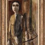 Lasar Segall  Figura com lâmpada serie as Erradias VII 1953  oleo s tela 1005 x 65 cm